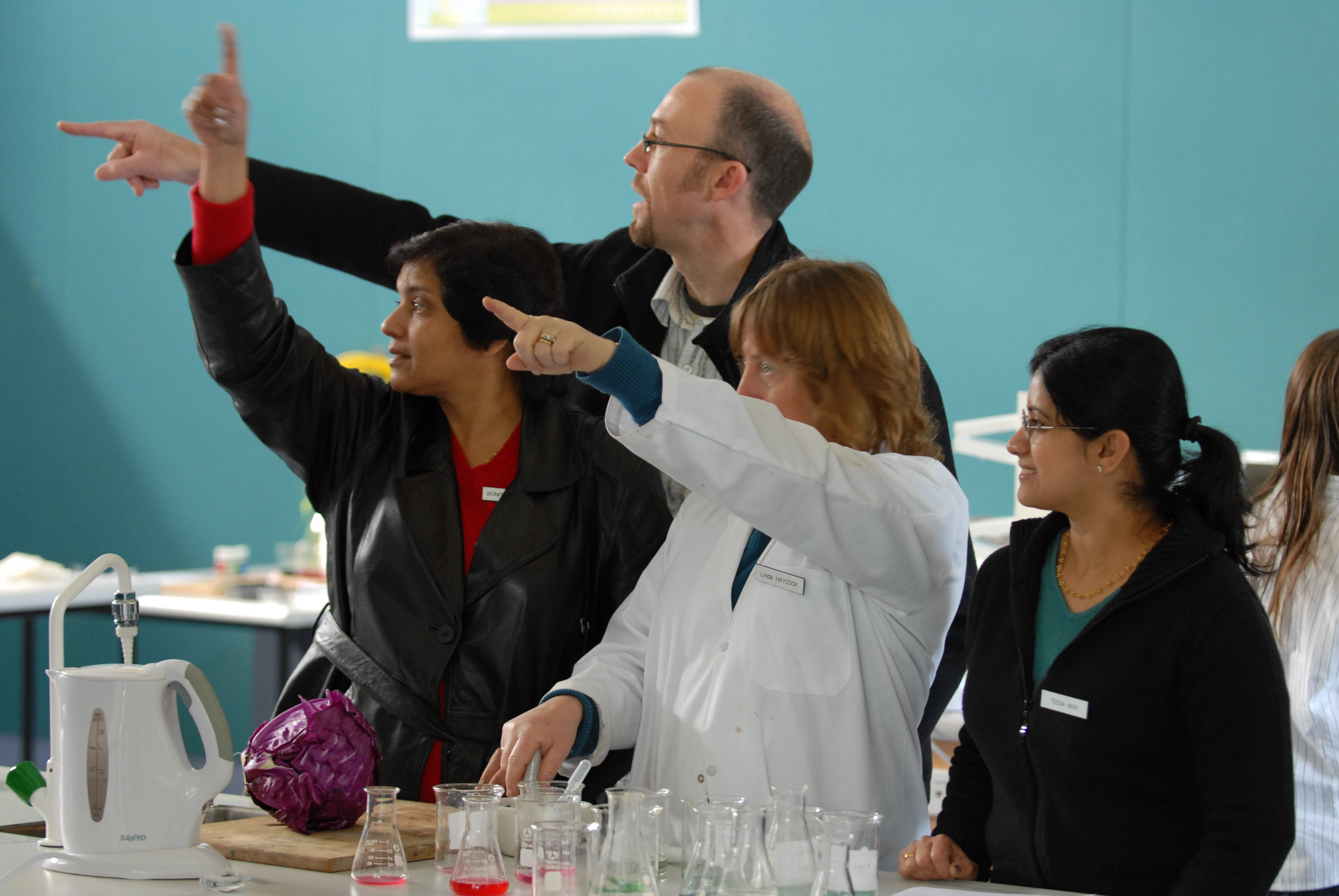 Science department staff on open day!…….bottle of wine for the best caption here